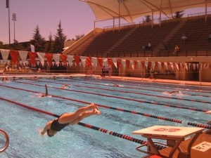 Malinda diving in at The National Senior Olympics, Stanford, 2009