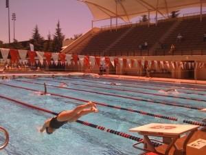 Malinda diving in at The National Senior Olympics, Stanford, 2009
